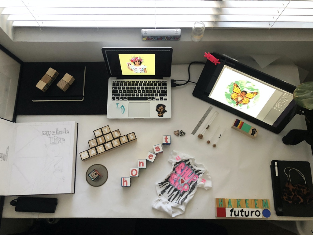 2020 artist fellow Goolam Saber's workspace.
